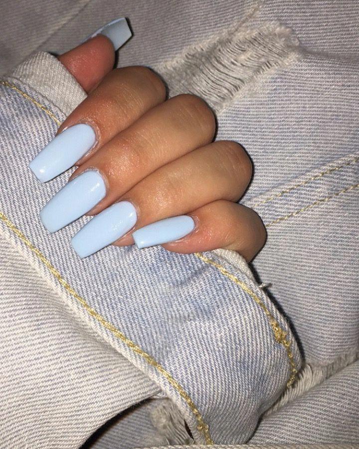 Baby Blue Coffin Nails : coffin, nails, Coffin, Nails, #nailscoffin, Acrylic, Nails,