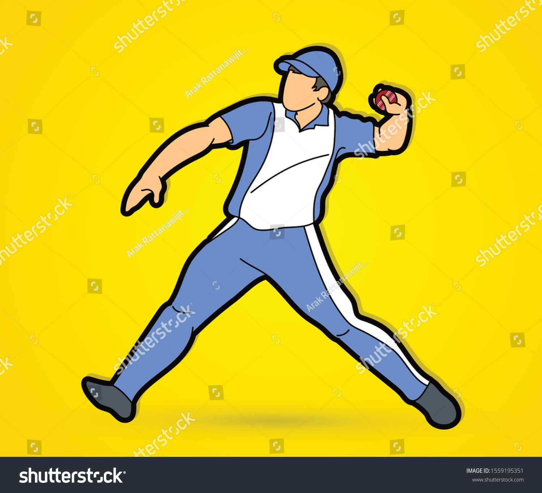 Cricket Bowler Sport Player Action Cartoon Graphic Vector Ad Affiliate Sport Player Cricket Bowler Sport Player Sports Bowler