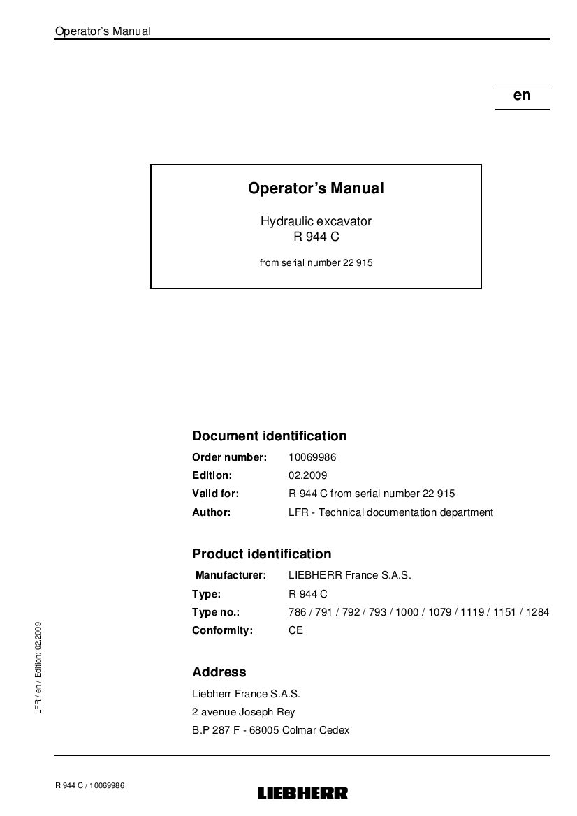 Liebherr R944c 22915 Operation And Maintenance Manual Pdf Download Operation And Maintenance Repair Manuals Manual