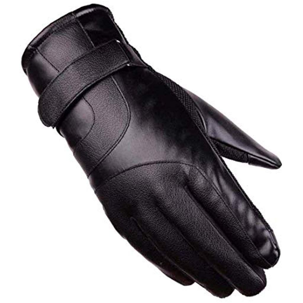 Black Winter Motorcycle Solid Leather Driving Gloves Fleece Lined Biker Riding
