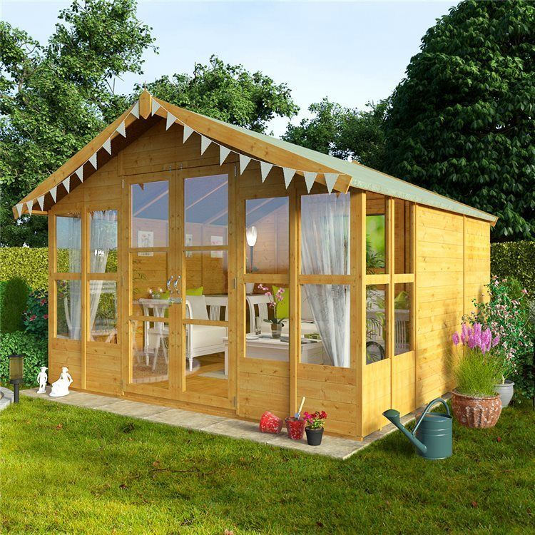 New Wooden 10x10 Garden Summer House Sunroom Outdoor Log Shed Cabin Patio Large Shed Design Summer House Garden Studio Shed