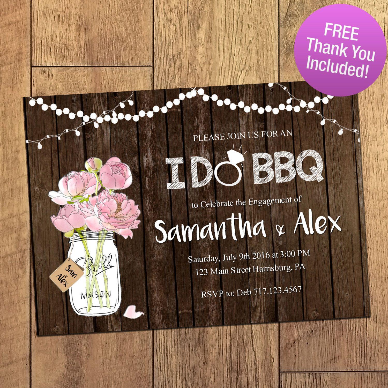 Wedding Invitations Ideas Pinterest: I DO BBQ Rustic Mason Jar Engagement Party By