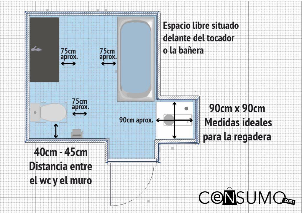 Planos construcci n mediadas ba o regadera wc for Planos de banos