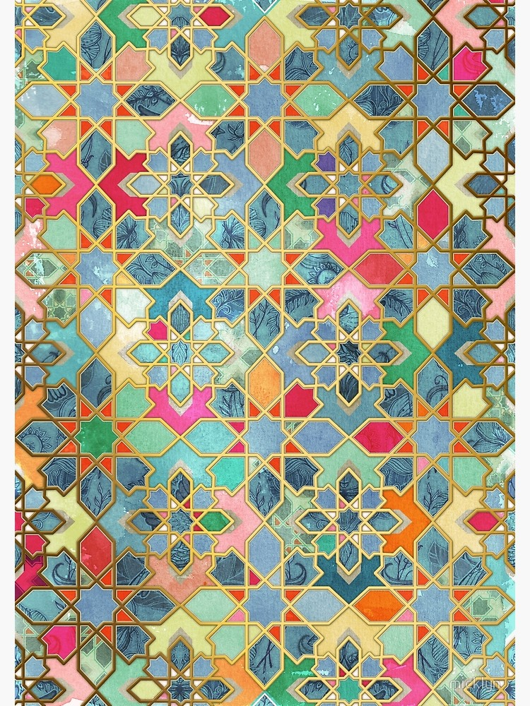 Gilt & Glory - Colorful Moroccan Mosaic Canvas Print by micklyn
