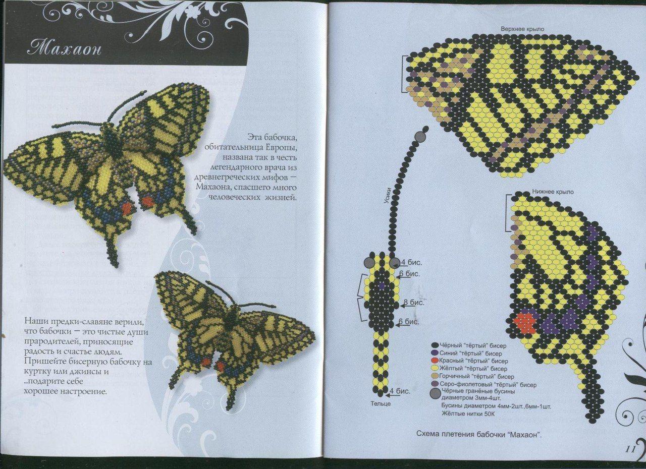 общем, схема из бисера бабочка супруги