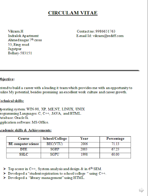 Curriculum Vitae Objectives Free Download Sample Template