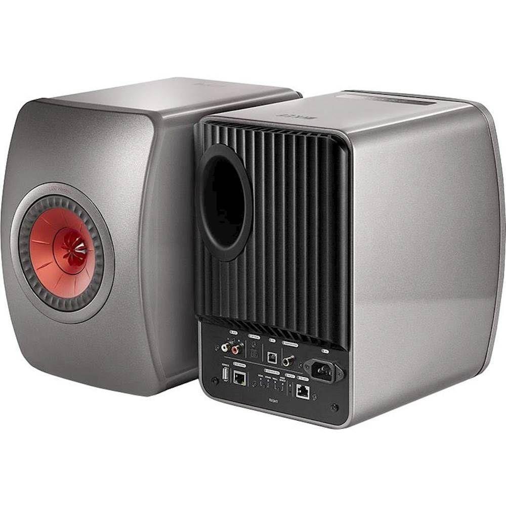 Kef Ls50 Hi Res 5 1 4 2 Way 230w Wireless Speakers Pair Titanium Gray Red Ls50agrey Kef Monitor Speakers
