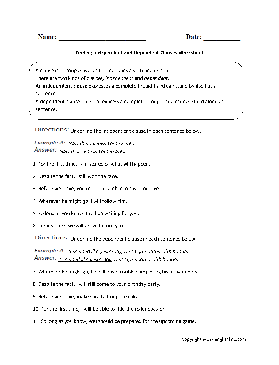 independent and dependent clauses worksheets Termolak – Independent Clause Worksheet