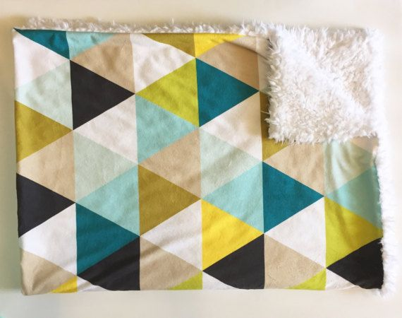Mustard Teal Triangles Baby Blanket Faux Fur Minky Teal Gray Mint Aqua Citron Olive Gender Neutral Nursery Boy Baby Shower Gift Faux Fur Baby Blanket Teal Nursery Soft Baby Blankets