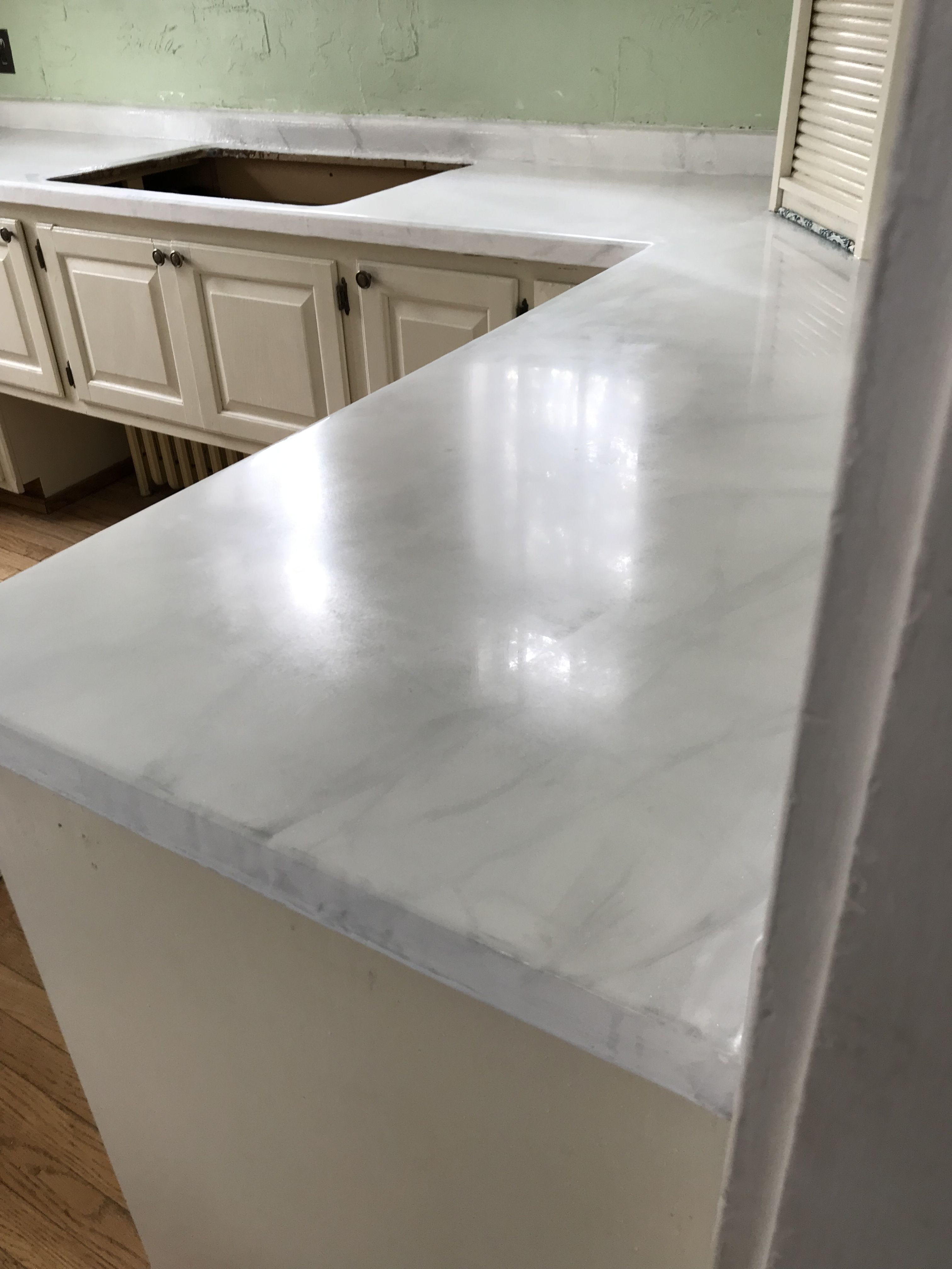Hand Painted Epoxied Sanded And Polished Looks Just Like Marble Without The Expense And Headache Countertop Design Refinish Countertops Countertops