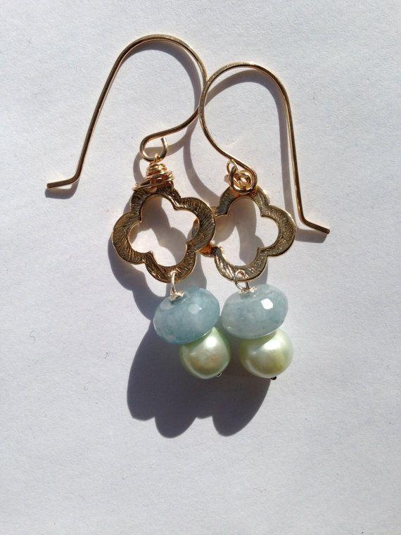 Mint Green Pearl Aquamarine Drop Gold Earrings Etsy By Lilyb444 Bridal Greenearrings