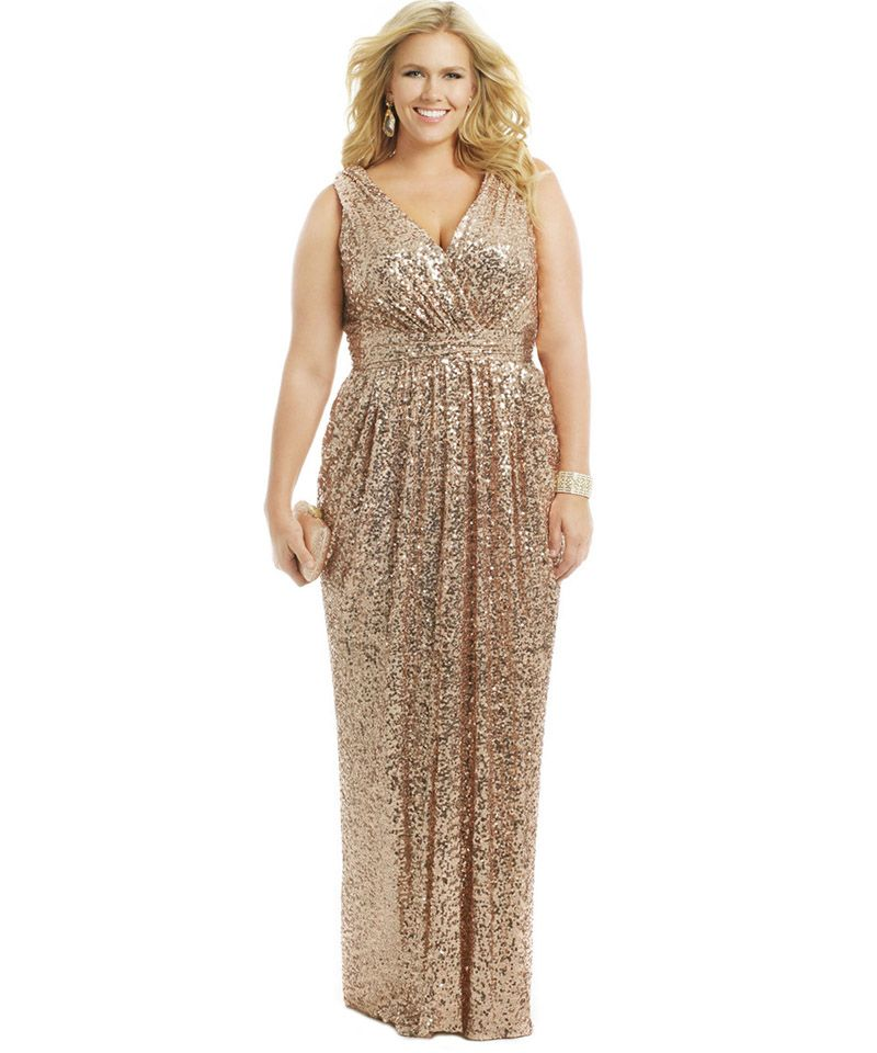 gold sequin bridesmaid dresses | 2015 sexy long champagne gold