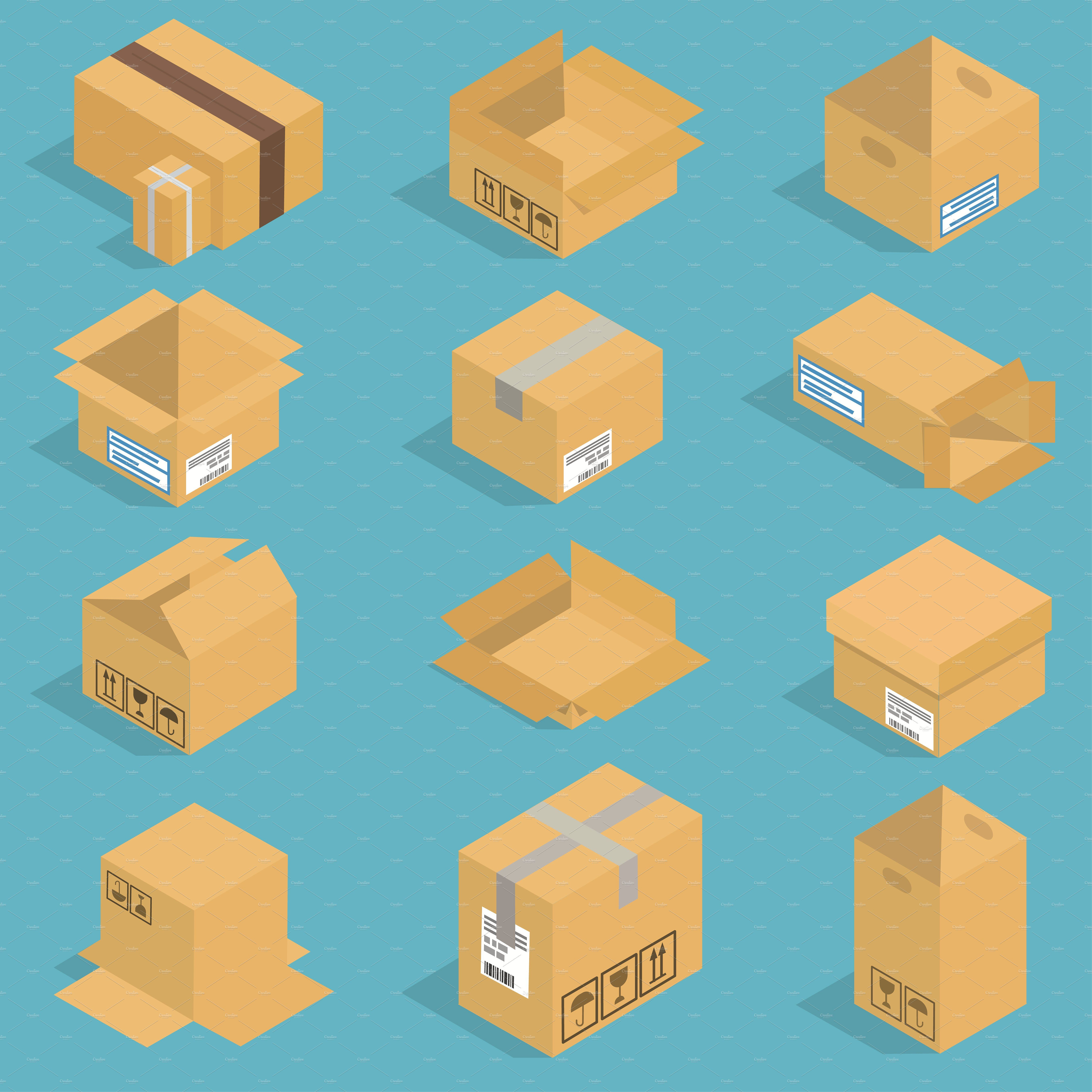 Isometric moving box vector