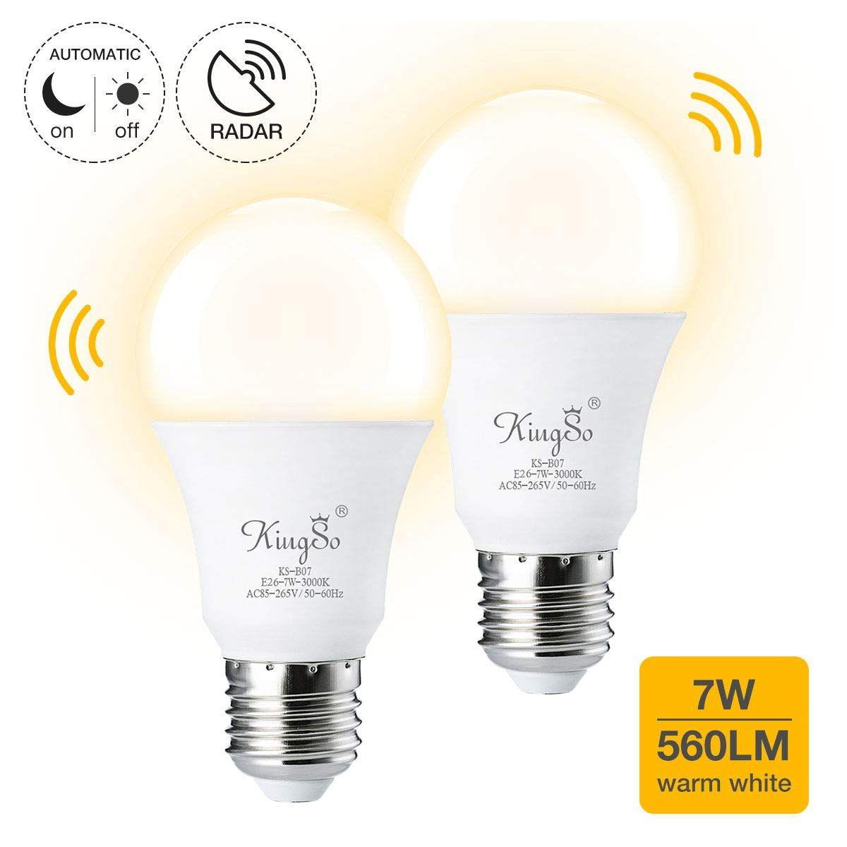Radar Motion Sensor Light Bulbs Kingso 2 Pack 7w Smart Motion Activated Led Night Lights E26 E27 Dusk To Da Motion Sensor Lights Led Night Light Light Sensor