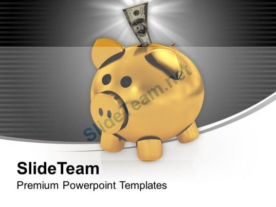 Piggy bank with dollar money in it powerpoint templates ppt themes check out this amazing template to make your presentations look awesome at toneelgroepblik Images