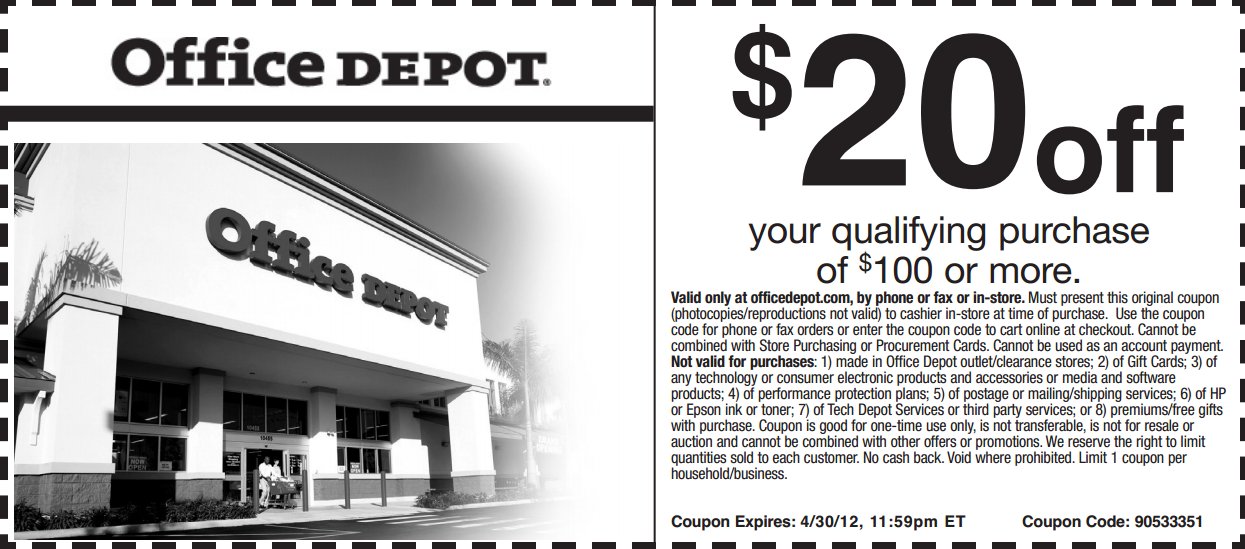 Save 20 at Office Depot! coupon Printable coupons
