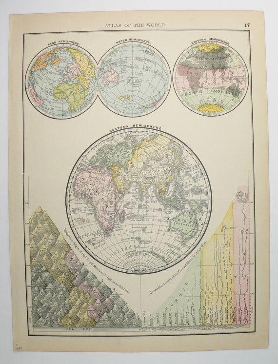 1888 Eastern Hemisphere Map, Antique World Map, Old World Decor Gift - new antique world map images