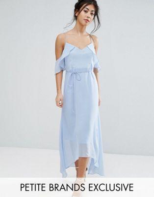 e7ef42b2a799 True Decadence Petite Frill Cold Shoulder Cami Maxi Dress With Ruffle Hem  Detail