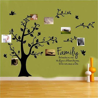 Family Tree Wall Sticker Quote Roots Birds Mural Art Decal Vinyl ...