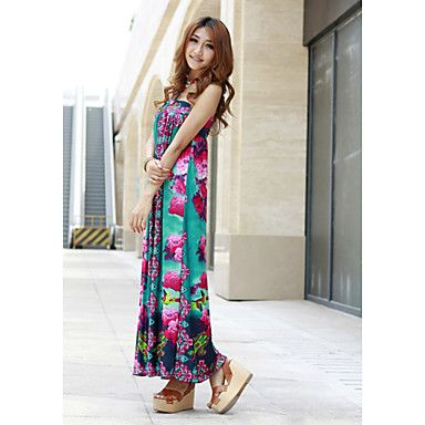 Polyester Maxi V-neck Dress