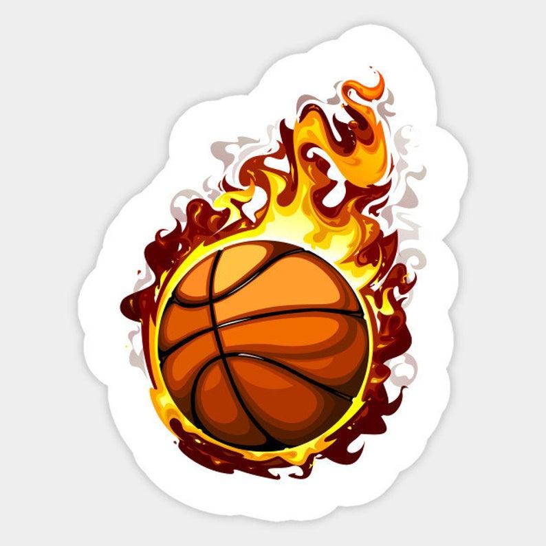 Fire Ball Basketball Sticker Etsy Sticker Design Stickers Etsy