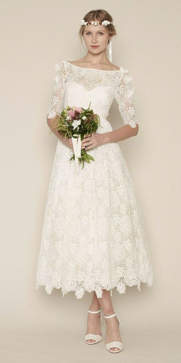 24 Gorgeous Tea Length Wedding Dresses | Hochzeitskleider, Brautmode ...