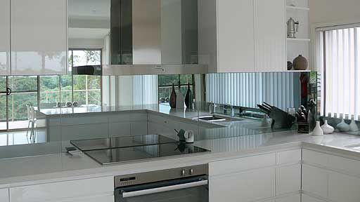 White Kitchen Mirror Splashback nl glass - kitchen splashback glass   ☆ k i t c h e n s