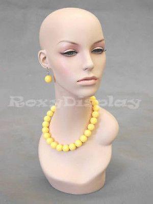 Female Fibergl Mannequin Head Wig Hat Earrings Necklace Display Md Evenlyhd