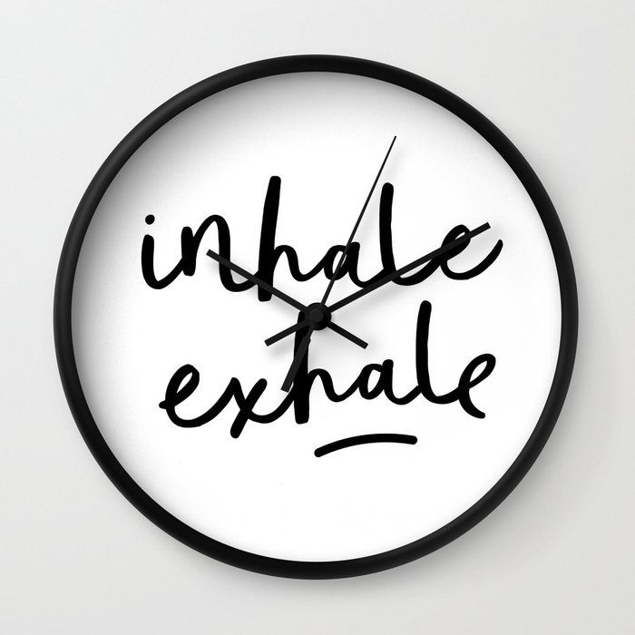Inhale Exhale Black And White Contemporary Minimalism Typography Print Home Wall Decor Bedroom Wall Clock by The Motivated Type - Black - Black