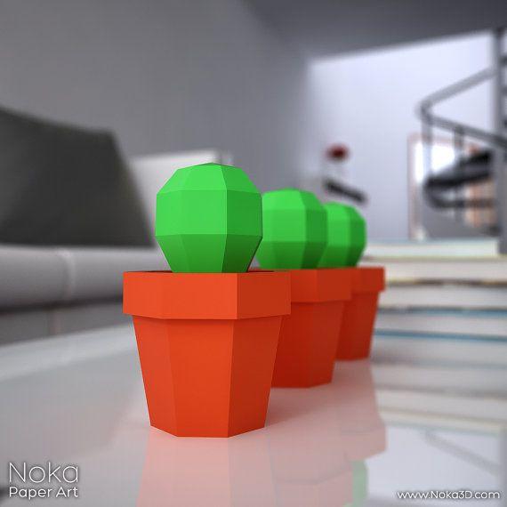 Cactus in a Pot - 3D papercraft model Downloadable DIY template