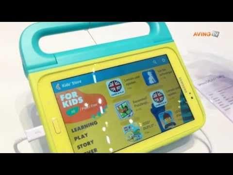 """La Samsung Galaxy Tab 3 Kids ya viene con contenido pre-cargado;se busca fomentar el """"eduentretenimiento"""" en un ambiente seguro y controlado.Tiene una pequeña asa rotatoria para poder agarrarlo, colores llamativos y es mucho más resistente gracias a sus dos fundas protectoras."""