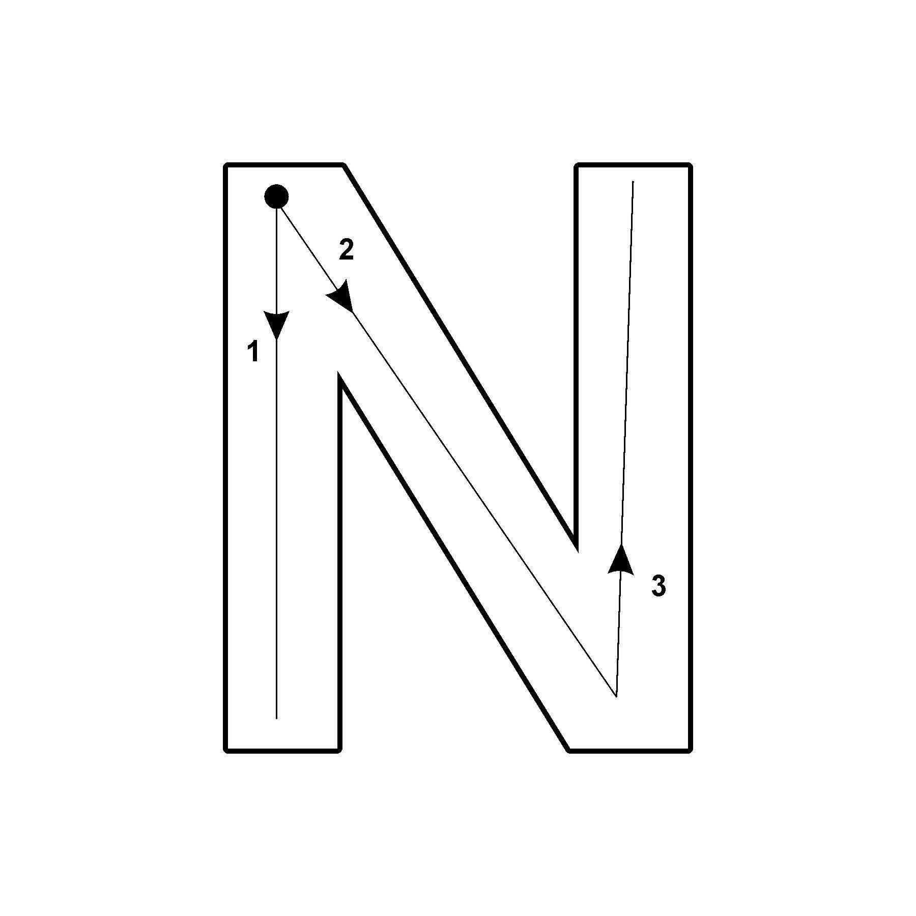 Capital Letter N With Arrow