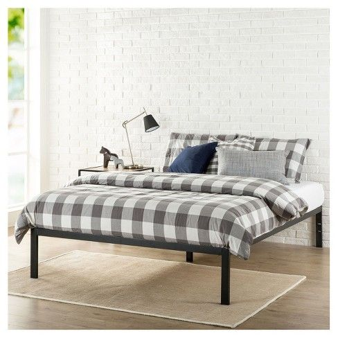 Modern Studio Metal Platform Bed 1500 Black Zinus