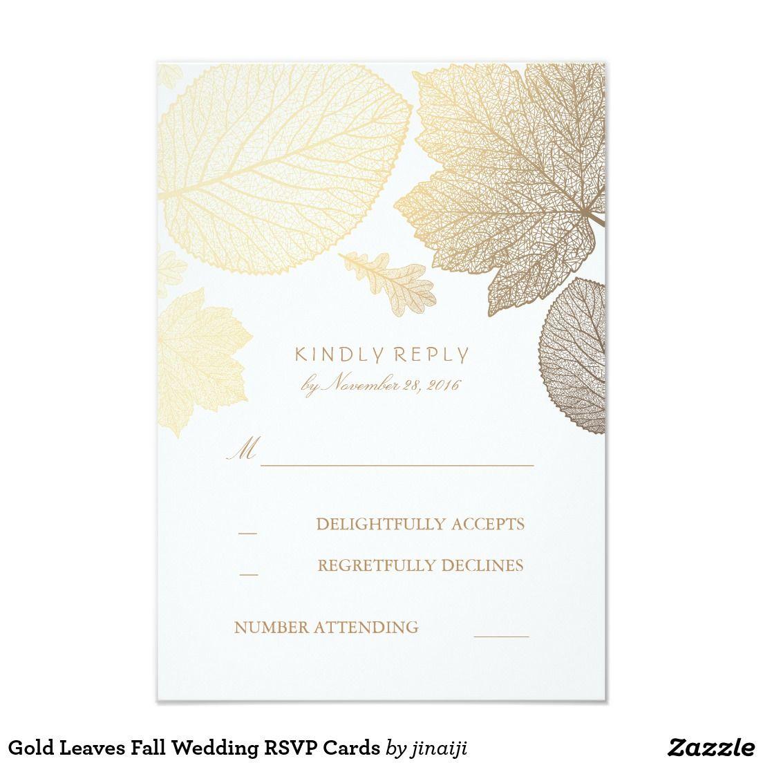 Gold Leaves Fall Wedding RSVP Cards   Baby Sprinkle Brunch ...