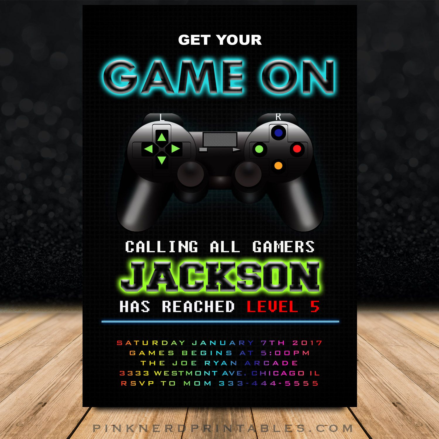 Video Game Birthday Invitation Gaming Truck Party Theme Gaming - Birthday invitation video