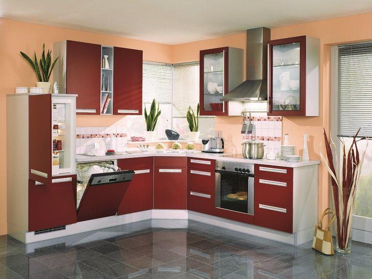 cucine-moderne-ad-angolo-mobili-bordeaux-bianchi | Cucine | Pinterest