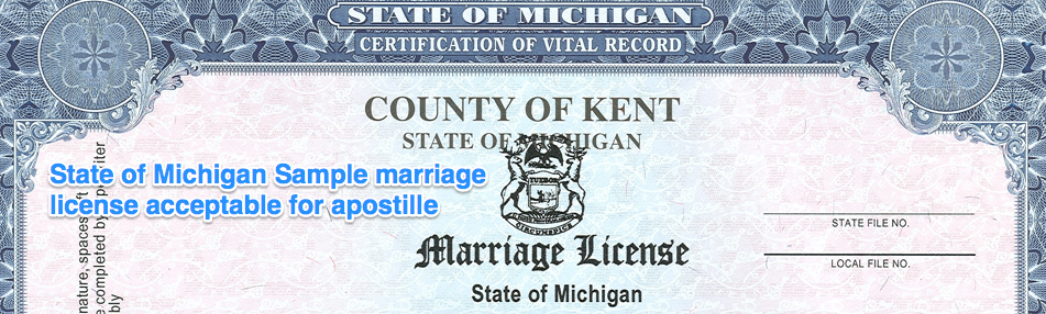 state of michigan sample marriage license acceptable for apostille