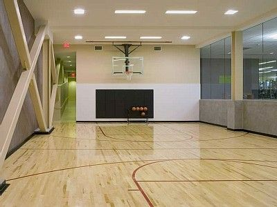 Indoor basketball court in the basement dream home for Home indoor basketball court cost