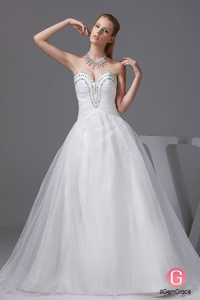 Sequined Sweetheart Custom White Ballgown Wedding Dress #OPH1022 ...