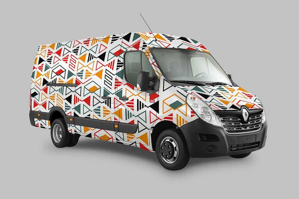 Download this free delivery truck wrap design mockup
