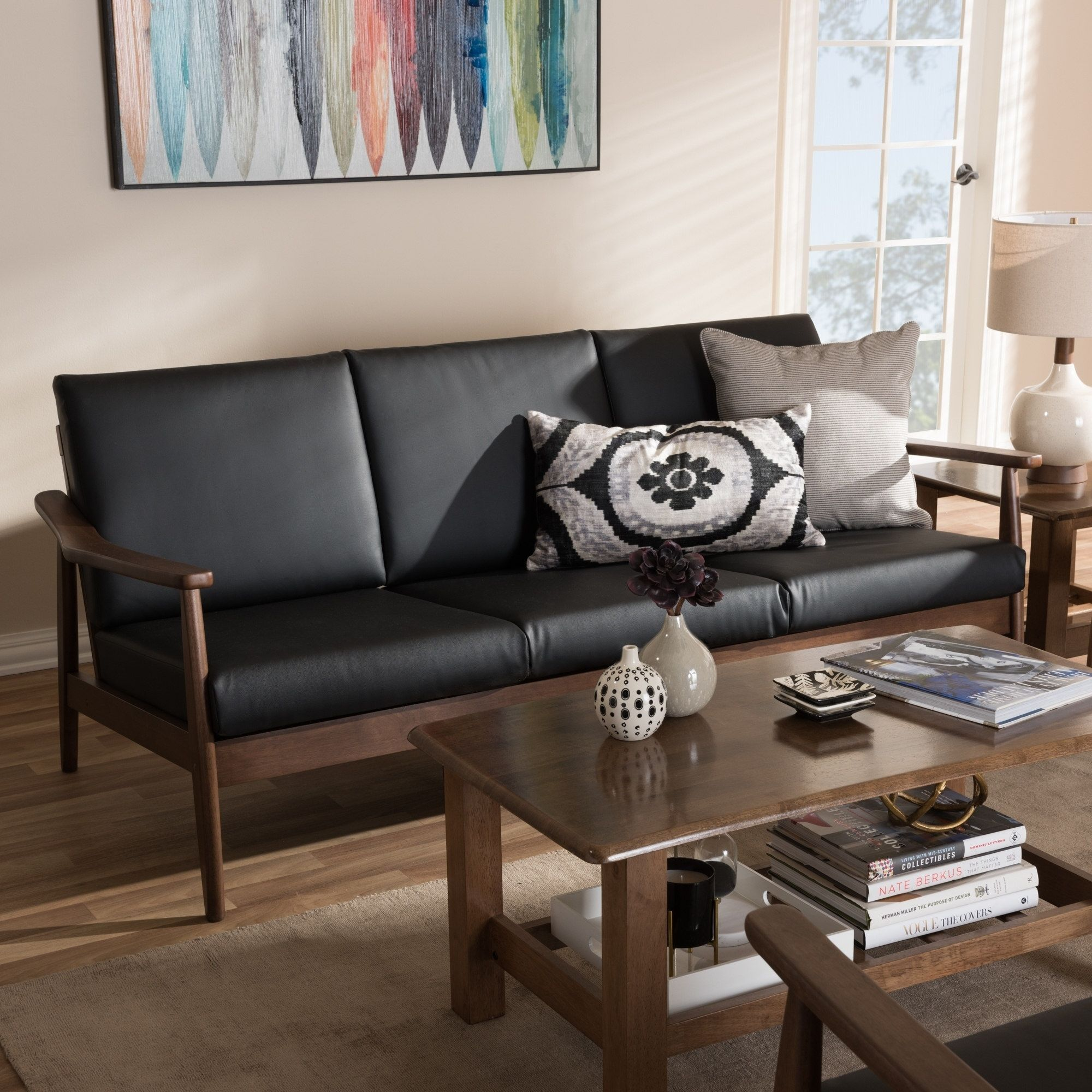 Best Mid Century Sofa By Baxton Studio Black Brown Leather 400 x 300