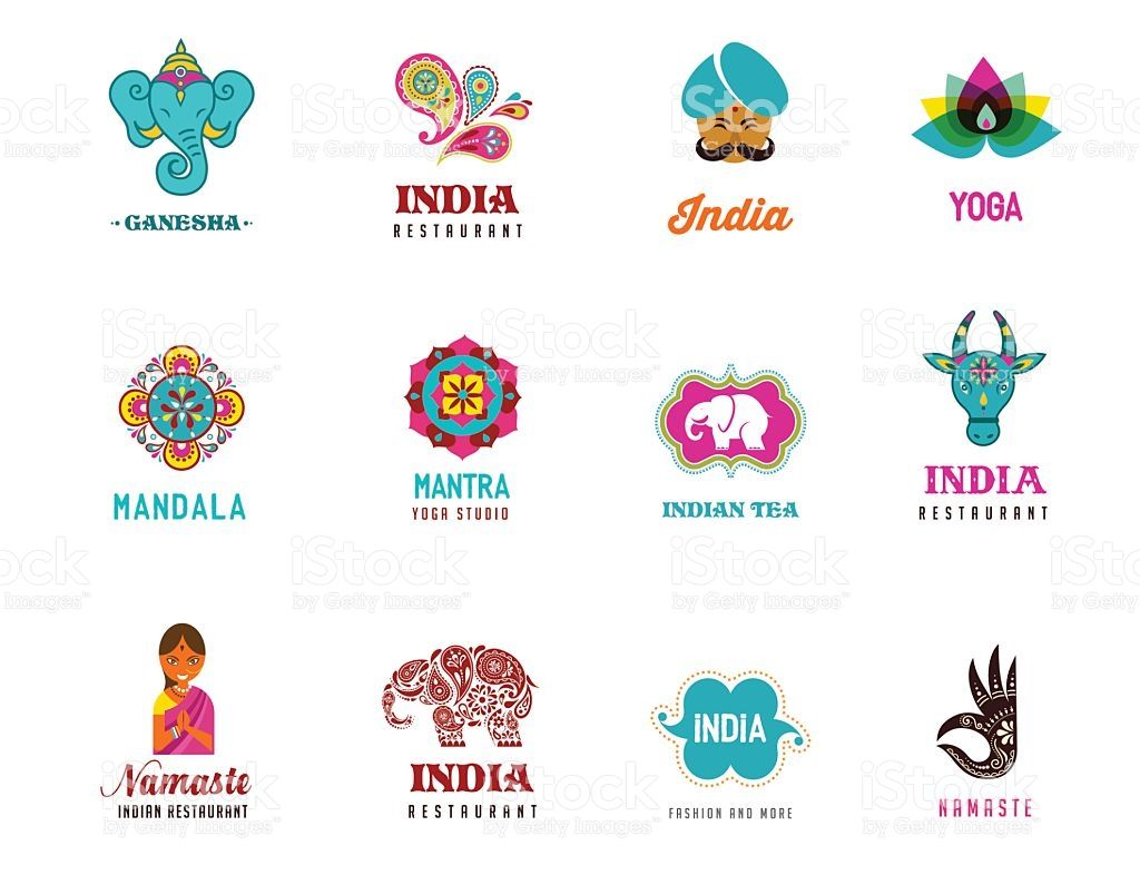 Elephant En Inde Signification india - set of indian icons. ganesh, lotus, elephant mandala