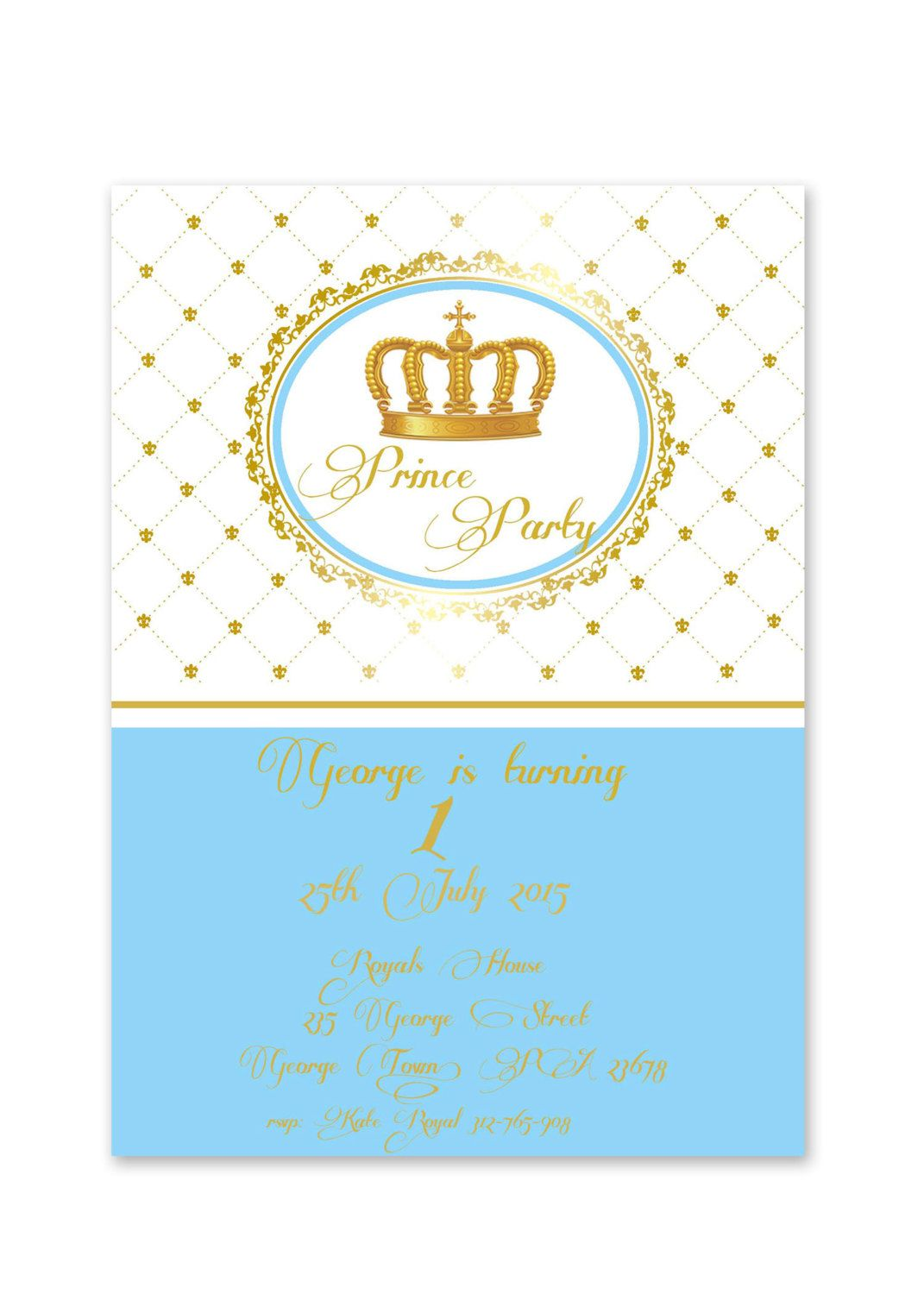 Royal, blue and gold prince, crown, baptism, christening, 1st ...