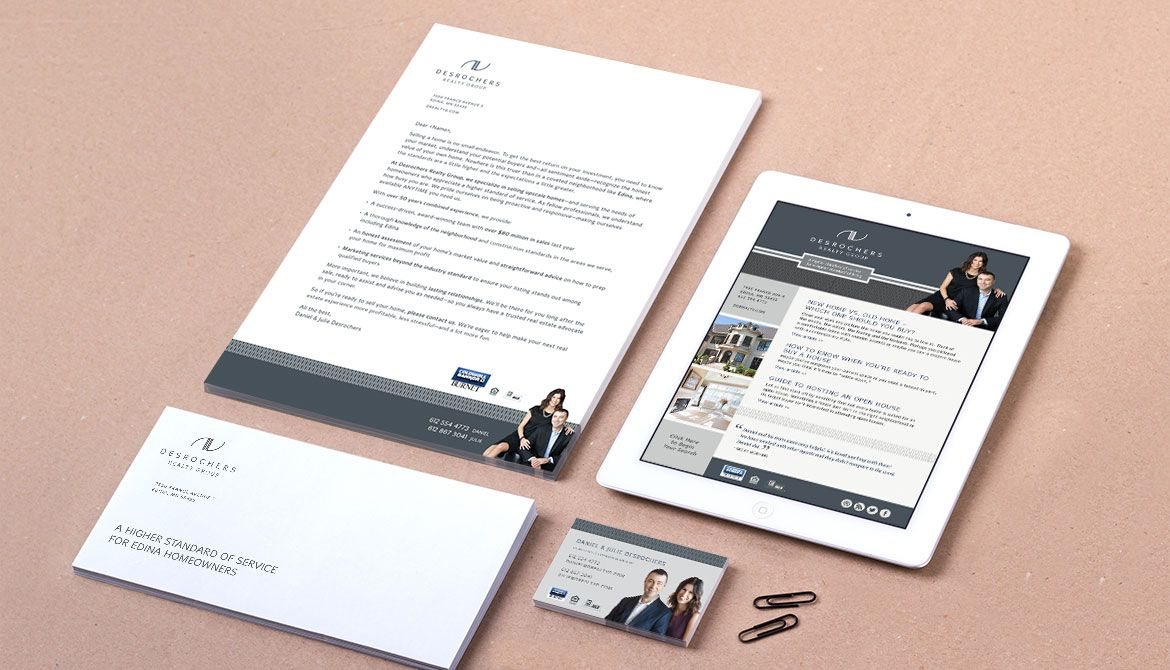 Branding and collateral design for Realtor. Desrochers Realty Group.
