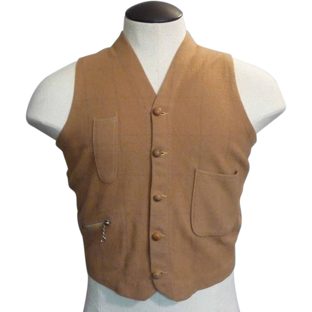 Men's Knit Back Windowpane Plaid Vest  by Bond Clothes Style Manor Sportswear Offered by Noble Savage Vintage on Ruby Lane