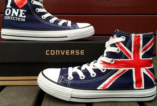b26fe1bd27de Blue Converse Shoes Hand Painted UK Flag Shoes Custom Design Uni ...