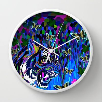 Tigers and Butterflies Wall Clock by Saundra Myles - $30.00