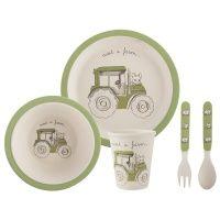 visit a farm tractor 5-delig kinder ontbijt/dinerset van gerecycled bamboe