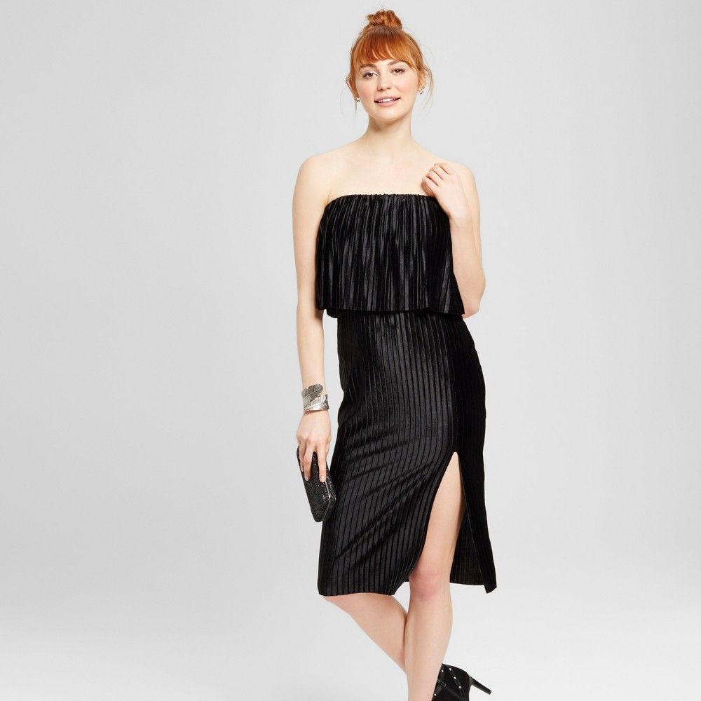 Womenus shine off the shoulder high slit midi dress black products