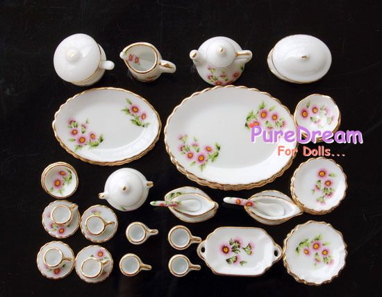 40PCS Dollhouse Miniature Dining Ware Porcelain Tea Set Dish Plate Flowers US
